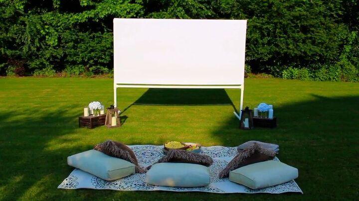 pantalla de cine en el jardin hazlo tu mismo